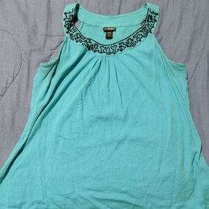 Light Blue Beaded Collar Tank Top - 2x